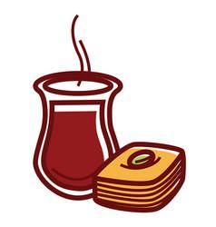 hot tea in jug and tasty sweet baklava vector image
