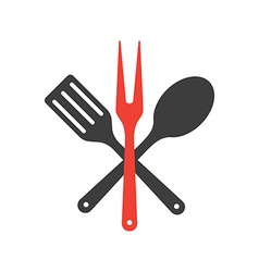 Icon of kitchen tools Fork spoon and fry shovel vector image