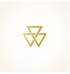 Isolated abstract golden color triangles contour vector