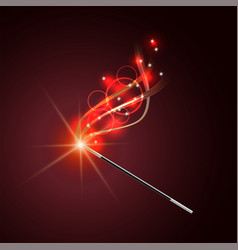 magic wand with magical red sparkle trail vector image