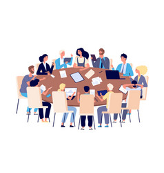 meeting at table people discussing ideas and vector image