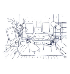 Monochrome drawing of interior of living room with vector
