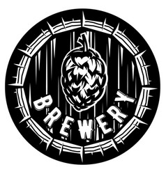 monochrome with cask and hop vector image