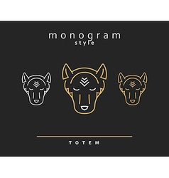 Monogram wolf Wolf Totem A set of monogrammed vector