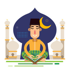 Muslim man sholat praying alquran with background vector