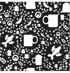 oktoberfest seamless pattern with drink and food vector image
