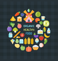 Organic healthy food banner vector
