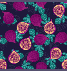 Pattern with figs and leaves vector