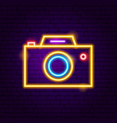 Photo camera neon label vector