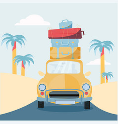 Planning summer vacations travel car vehicle vector
