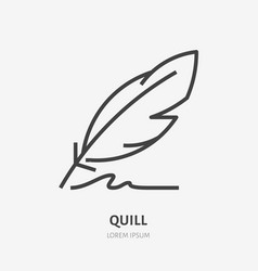 Quill flat line icon writing pen vector
