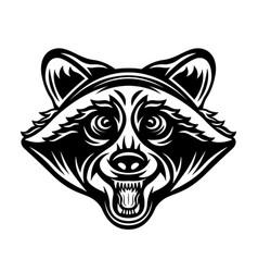 Raccoon head in black style vector