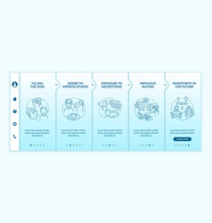 Reasons for consumerism blue gradient onboarding vector