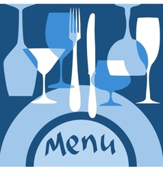 Restaurant menu cover with dishware vector image