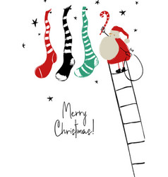 Santa hanging christmas stockings greeting card vector