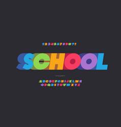 School font 3d bold color style vector