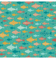 Seamless summer decorative fish pattern vector