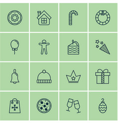 Set of 16 new year icons includes christmas toy vector