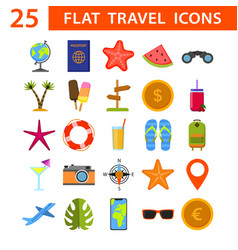 set of 25 flat quality travel map icons vector image