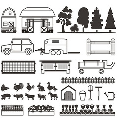 Set of elements for farm Farm building animals vector image