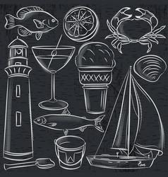 set of summer symbols shells crab boat vector image