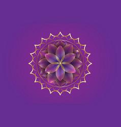 Seventh chakra sahasrara logo template gold lotus vector