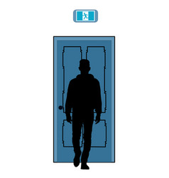 silhouette a man on background door vector image