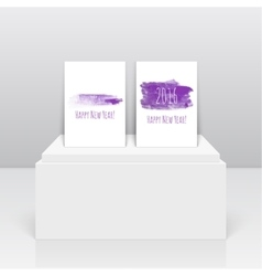 Smear a watercolor painting creative happy new vector