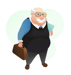 Smiling old man with leather bag and documents vector