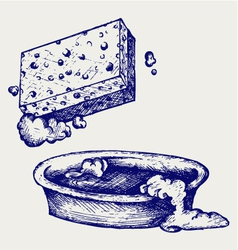 Sponge and bowl of water vector image