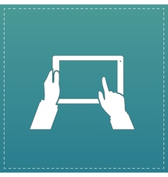 Tablet PC in human hands Flat style vector