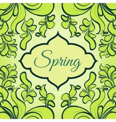 Template with abstract green leaves vector image