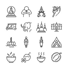 Thai icon set vector