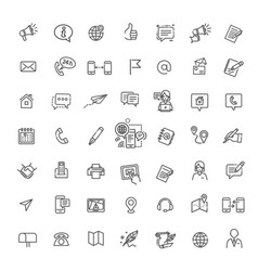 thin lines web icons set - contact us vector image