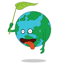Tired earth cartoon vector
