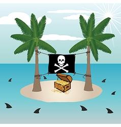 Treasure chest in a small remote island vector