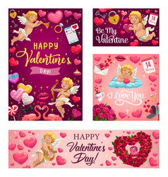 valentines day love hearts cupids and flowers vector image