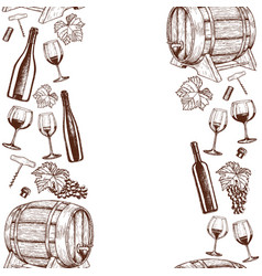vertical seamless borders of sketch wine icons vector image