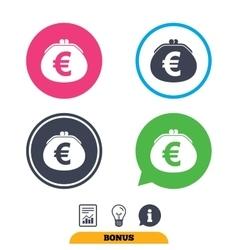 Wallet euro sign icon Cash bag symbol vector