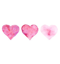 watercolor hearts for st valentines day vector image
