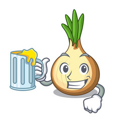 With juice cartoon ripe yellow onion for cooking vector