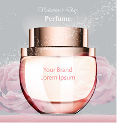 Woman perfume bottle delicate rose fragrance vector
