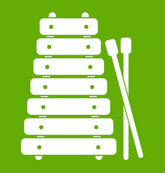 xylophone and sticks icon green vector image