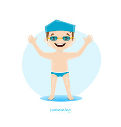 Young swimmer isolated on white background vector