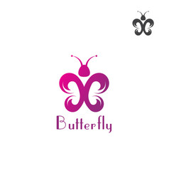 butterfly logo template on a white background vector image