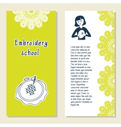 Cards template for embroidery school studio or vector image vector image