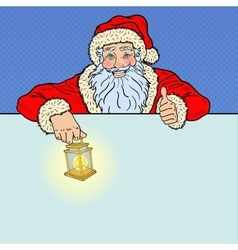 Pop art santa claus with advertising empty banner vector