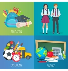 Set of banners back to school vector image