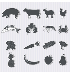 Set of food and products vector image vector image