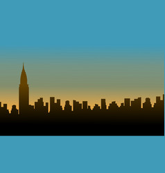 silhouette chrysler building at sunset scenery vector image